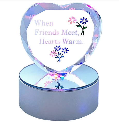 Friend Heart Decoration - Glass Heart on Silver LED Lighted Base - Engraved with When Friends Meet Hearts Warm and Flowers