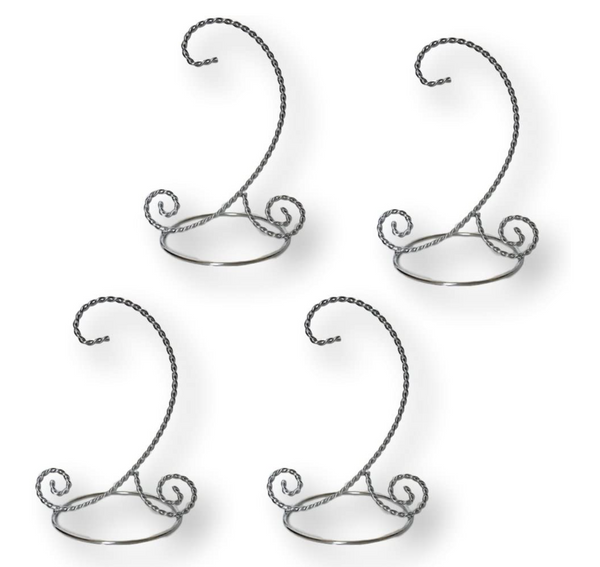 Twisted Silver Christmas Ornament Stand - Set of 4 Ornament Display Stands - 7-inch Ornament Holders - Chrome Stands