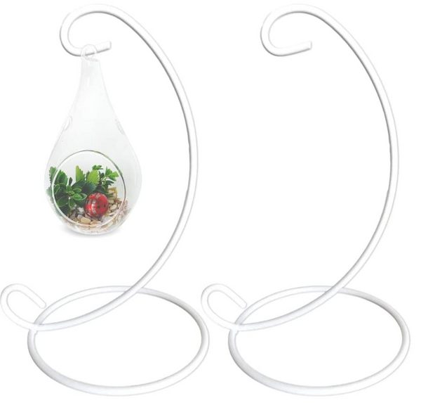 Ornament Display Stands Racks –Wrought Iron White 2 Pack – 13 inches Tall- Christmas Ornament Terrarium Holder Glass Globe Lanterns