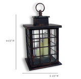 Decorative Lantern Set - 2 Mission Style Lanterns - Brushed Faux Finish - 3 LED Taper Candles Included - 5 Hour Timers
