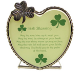 Irish Blessing Candle Holder - May The Road Rise up to Meet You Poem - Heart Shaped Tea Light Candle Holder - Shamrocks - St Patrick's Day Decoration
