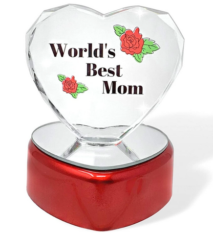 World's Best Mom Heart - LED Light Up Glass Heart Statue Paperweight - Etched Rose Design on Red Heart Shaped Lighted Base
