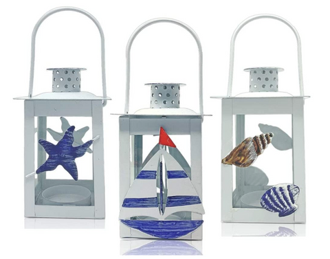 Beach Lantern Set - 3 Decorative Nautical Metal Lanterns Coastal Decorations for Home - Sailboat Starfish and Seashell Designs - 7 Inches Tall