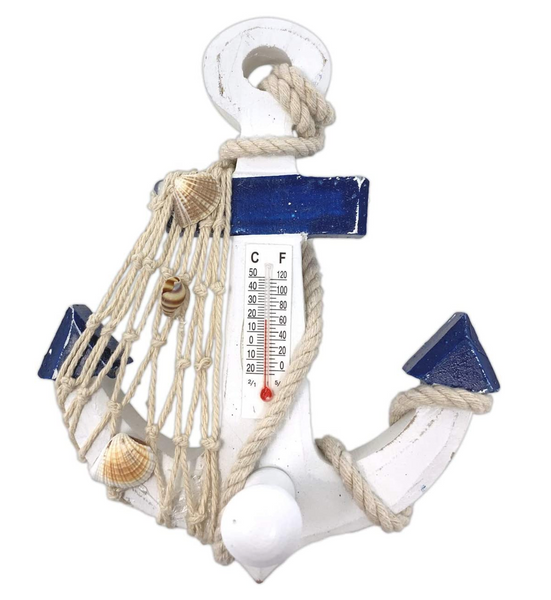 Decorative Nautical Thermometer - 6 Inches Tall White Washed Blue Anchor with Shells - Beach Decor - Coastal - Lake