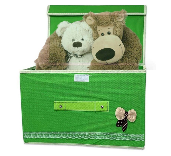 Two Storage Boxes Collapsible Storage Bins with Lid and Handle – Green Colored Containers with Lid for Toys, Closets, Bedroom Organization