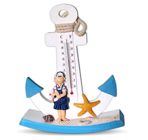 Anchor Nautical Themed Wooden Anchor Table Top Thermometer Temperature Gauge for Home Decoration-Beach Decor- Housewarming Gift by BANBERRY DESIGNS