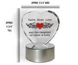Faith Hope Love Heart - Lighted Glass Heart on LED Base - The Greatest of These is Love Decor - Wedding