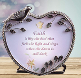 Inspirational Candle Holder - Faith is Like The Bird Quote - Chrome Metal with Bird and Leaf Design