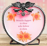 Angel Tea Light Candle Holder - Miracles Happen to Those Who Believe in Them - Glass Heart Design with Angel Wings- Get Well Soon Gifts for Women