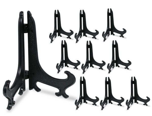 "5"" Black Plastic Easel - Pack of 10 Display Easels - Curved Folding Stands - Hinged Easels"