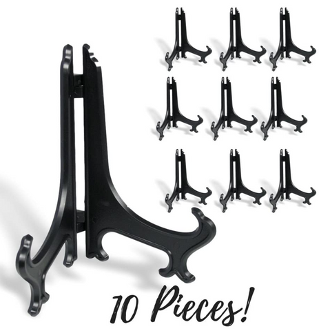 "Black Plastic Easels Plate Stand Folding Display Holder with Texture - 6"" H - Pack of 10 Pieces"