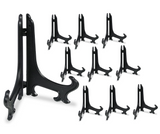 "Black Plastic Easels Plate Stand Folding Display Holder - 9"" H - Pack of 10 Pieces"