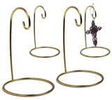 "Gold Ornament Stand - Set of 4 Brass Metal Wire Ornament Stands - Terrarium Display Holder - 5"" H"