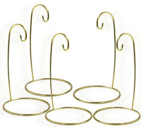 "Christmas Ornament Stand - Set of 5 Gold Metal Wire Ornament Stands - Display Holder - 7"" H"
