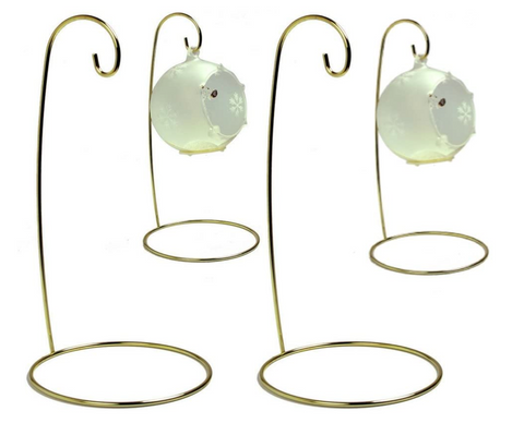 "Christmas Wire Ornament Stands Display Holder Gold Colored - 9"" H - Set of 4 Pcs"