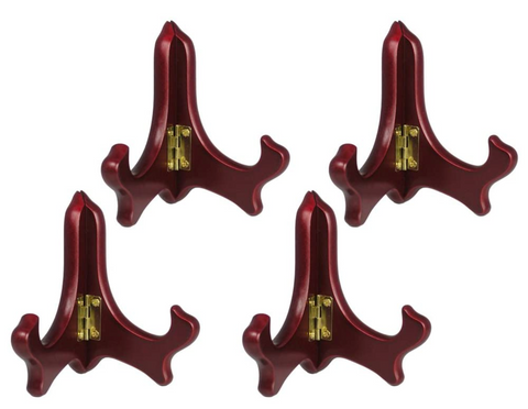 Wood Easel Plate Holder Folding Display Stands - Mahogany Finish - Premium Quality - Pack of 4 Pieces - 4 Inch