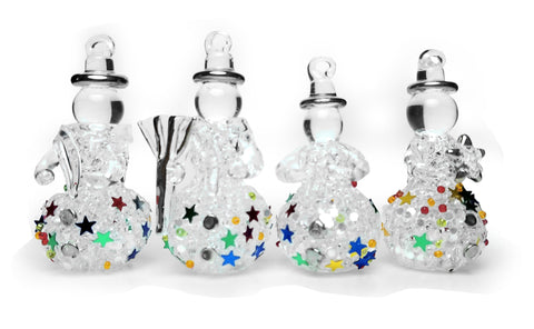 Glass Snowman Ornaments with Glitter - Set of 4 Assorted Styles of Hanging Spun Glass Glittered Snowmen - Snowmen Decorations - Glass Christmas Ornaments
