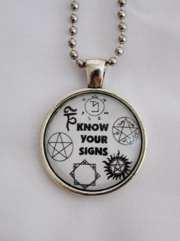 Know Your Signs Fandom Necklace. Anti Possession, Banishment, etc. 18 Inch Chain.