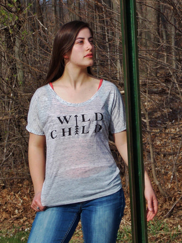 Wild Child Ladies Flowy Top. Boho Chic Shirt.