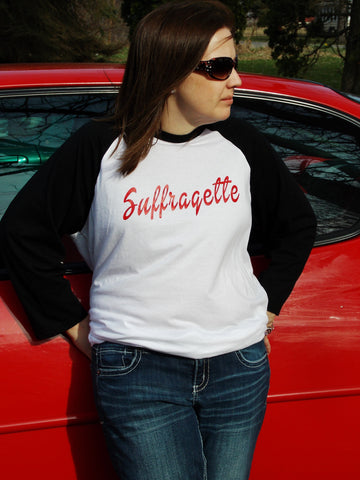 Suffragette Baseball Tee. Women's Rights Feminism Shirt. Unisex Sizing.