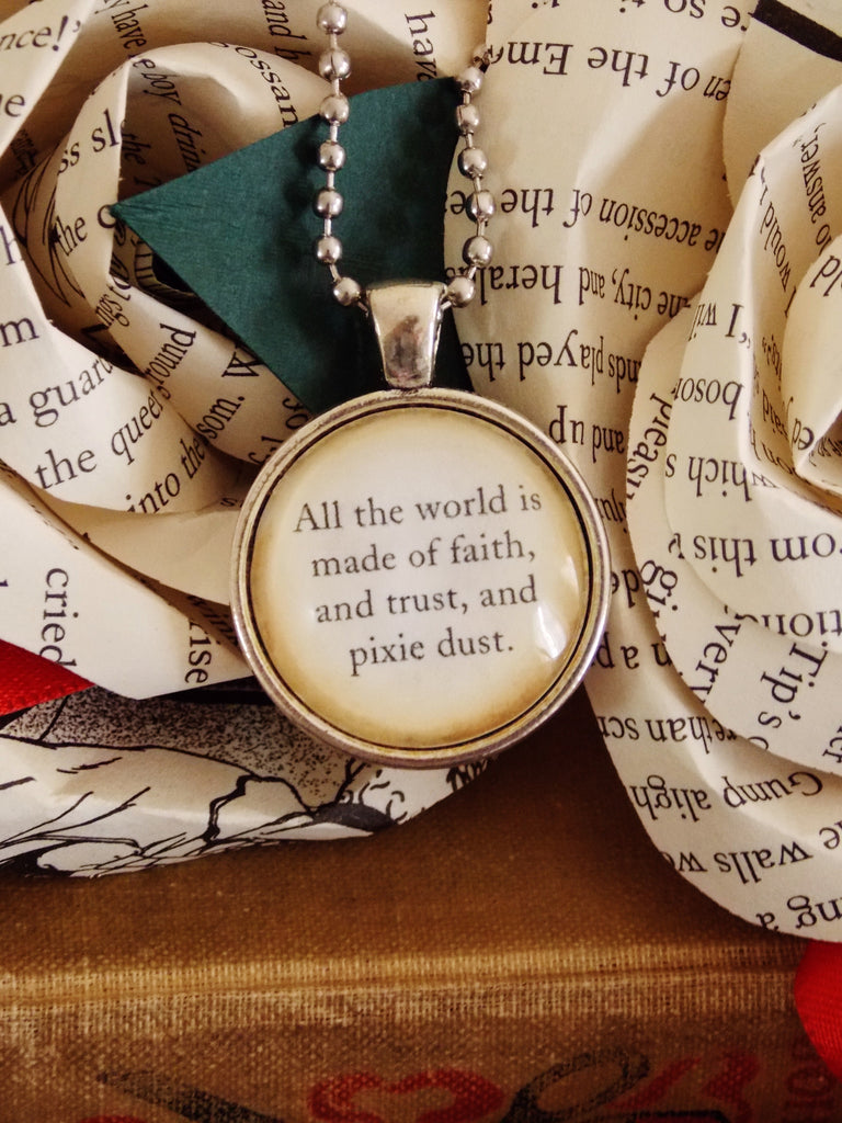Peter Pan Quote Necklace Faith Trust And Pixie Dust 18 Inch Chain