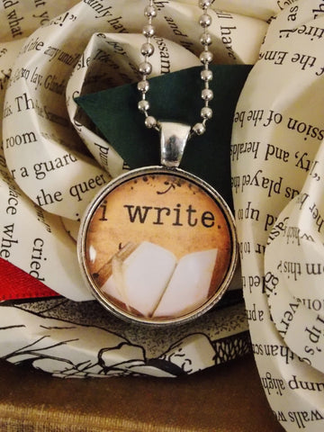 I Write Necklace. Author, Writer Necklace. 18 Inch Chain.