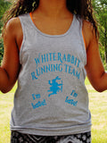 White Rabbit Running Team Unisex Tank Top. Alice in Wonderland Tank Top.