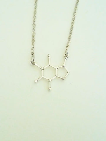 Caffeine Molecule Necklace. Science Necklace. 20 Inch Silver Tone Chain.
