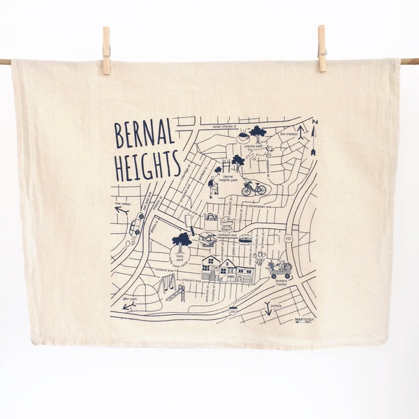 Bernal Heights Maptote Tea Towel