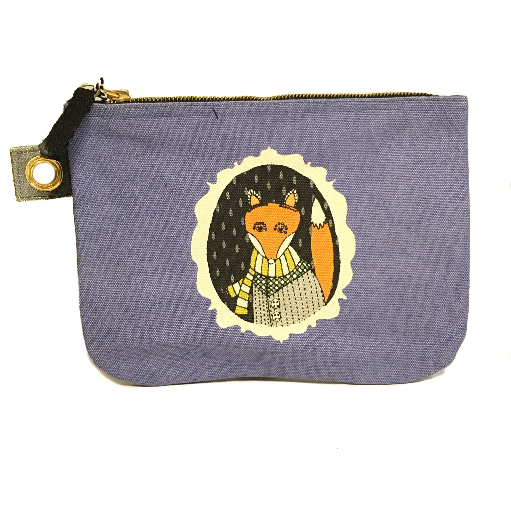 Fox Cameo Zippered Pouch