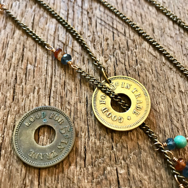Antique Trade Coin Lariat Item# N3200-2