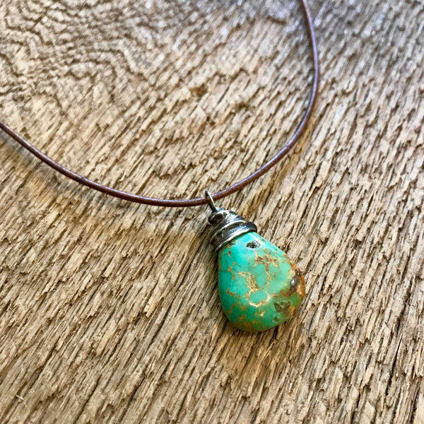 Artisan Silver Capped Turquoise Pendant Item# N1300-2