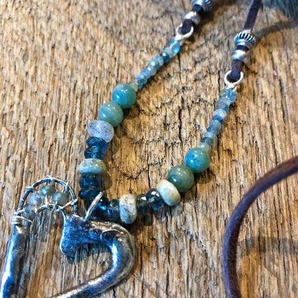 Adjustable Artisan Silver and Kyanite Necklace Item# N7100-1