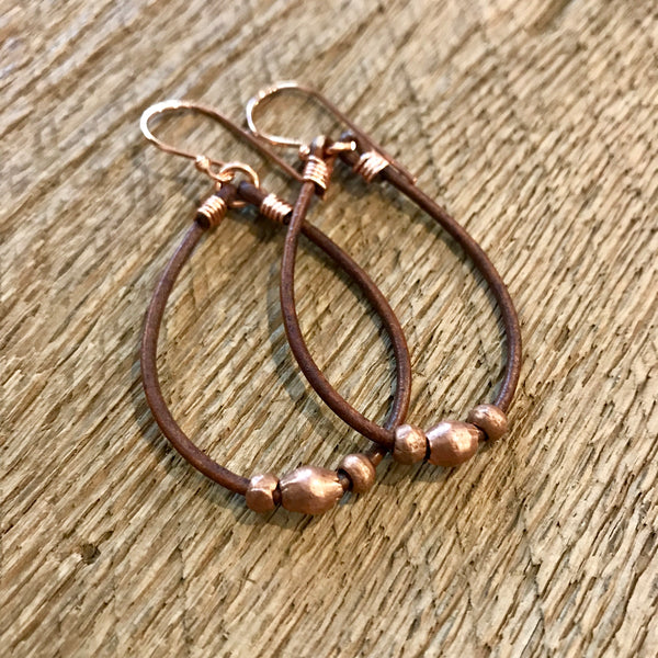 Leather and Copper Hoop Earrings Item# 1300-2