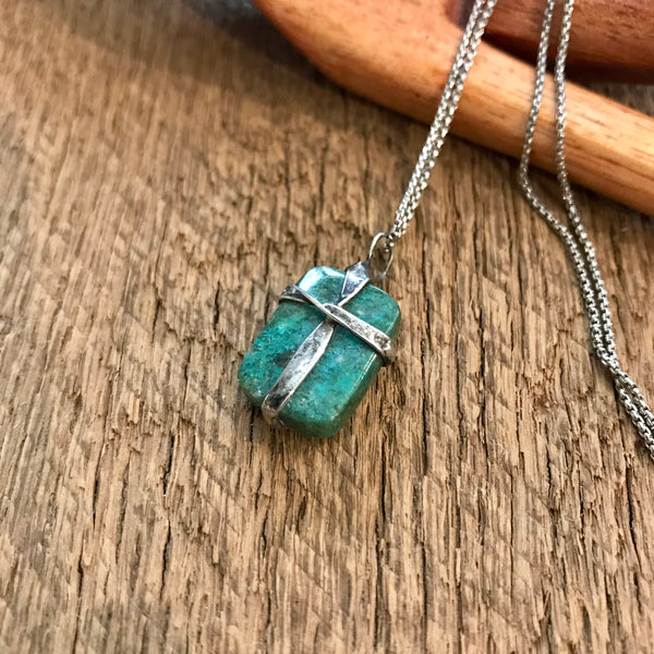 Artisan Silver Cross Turquoise Necklace Item# N2100-1