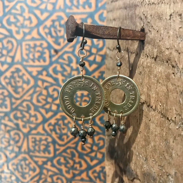 Antique Trade Coin Earrings Item# E1850-1