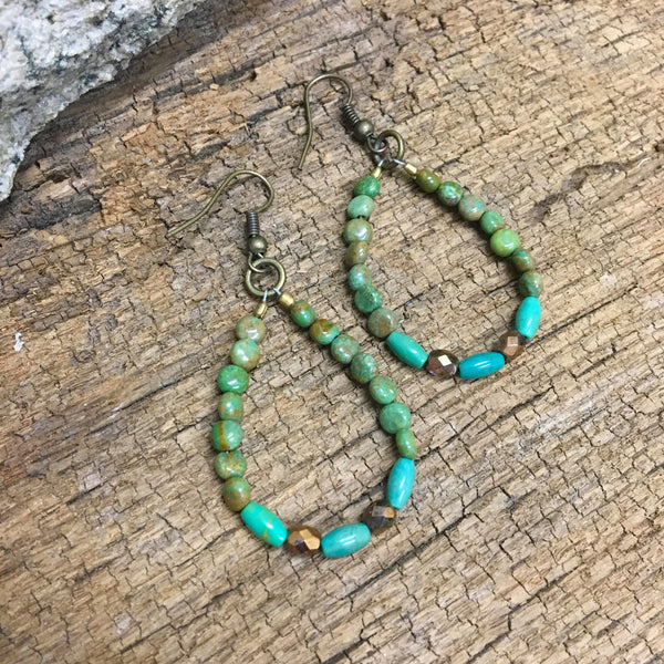 Turquoise Hoop Earrings Item# E1600-1