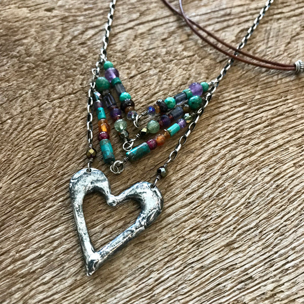 Artisan Silver Heart Chevron Necklace Item# N11800-1