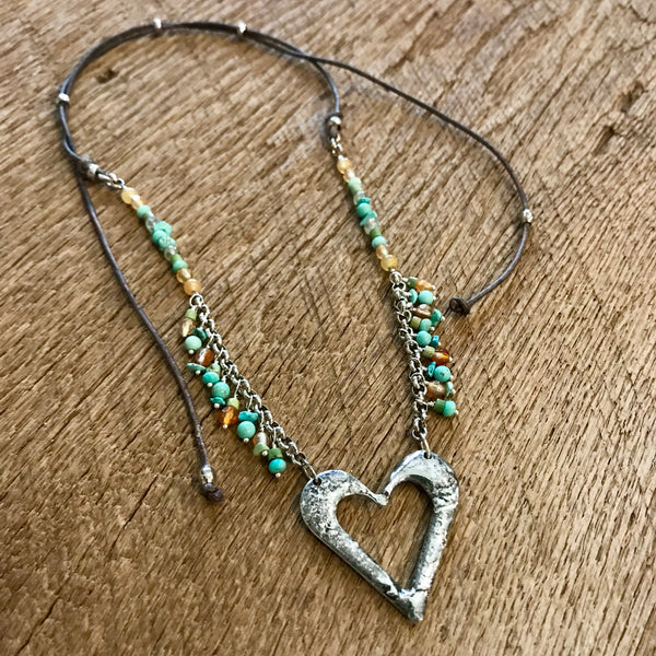 Friendship Artisan Silver Heart Beaded Necklace Item# N7000-1