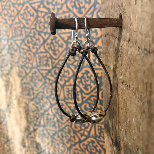 Super Bloom Leather Hoop Earrings Item# E1100-1