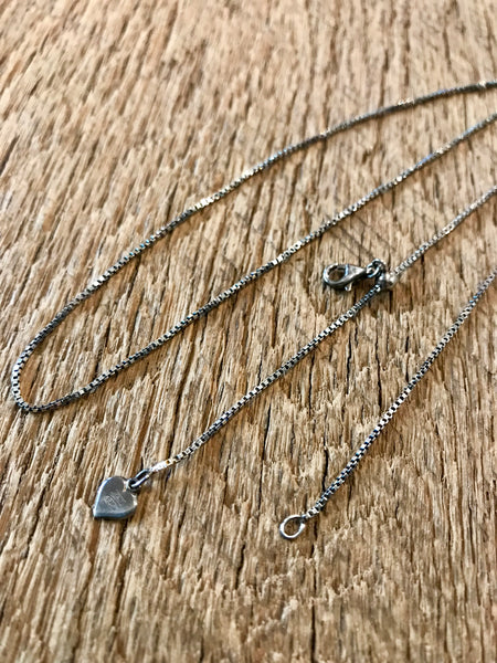 Oxidized Sterling Silver Adjustable Box Chain Item# C1200-1