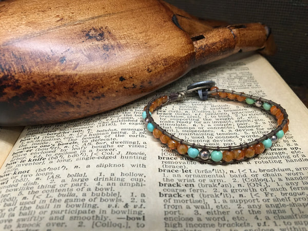 Women's Leather Wrap, Carnelian, Turquoise & Silver Bead Bracelet Item# B2200-1