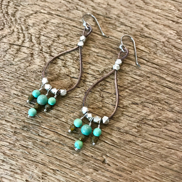 Turquoise Leather Hoop Earrings Item# E2400-4