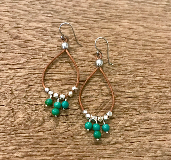 Turquoise Leather Hoop Earrings Item# E2100-5
