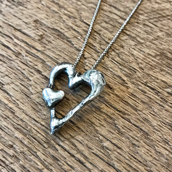 Artisan Silver Double Heart Necklace Item# N2900-4
