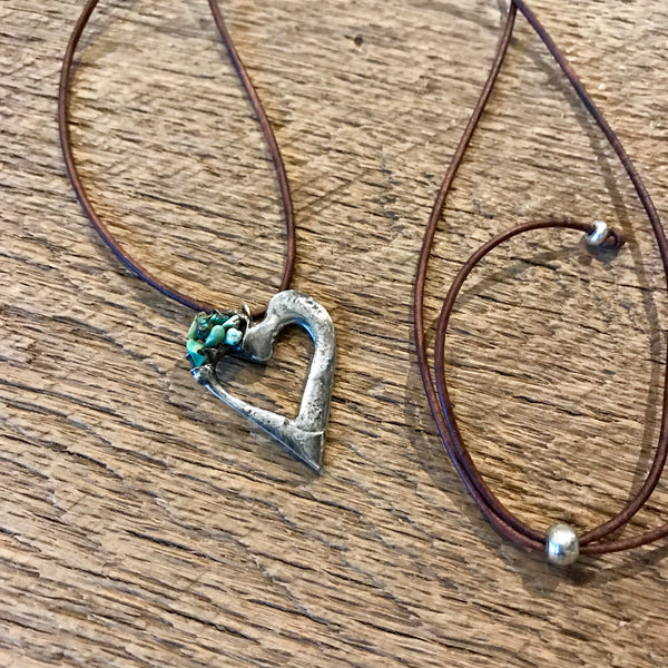 Artisan Silver Heart Necklace Item# N2600-3