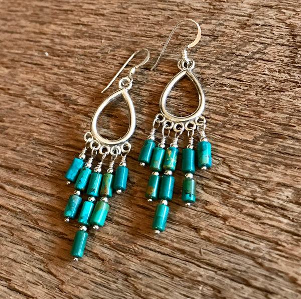 Turquoise & Sterling Silver Chandelier Earrings Item# E3750-1