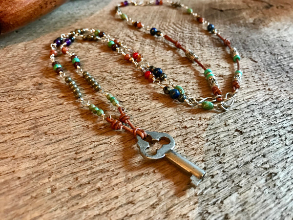 Vintage Skeleton Key and Gemstones with Two Bracelet Extenders Item# N6600-2