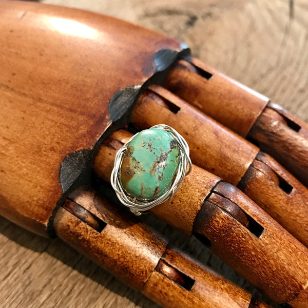 Turquoise and Sterling Silver Nest Ring Item# R1800-5