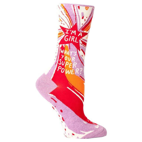 Girl Superpower Crew Socks